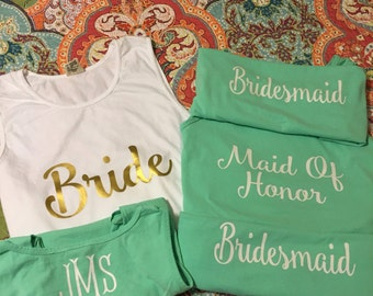 Bride/Maid Of Honor/Bridesmaid Monogram- Comfort Color Tanks
