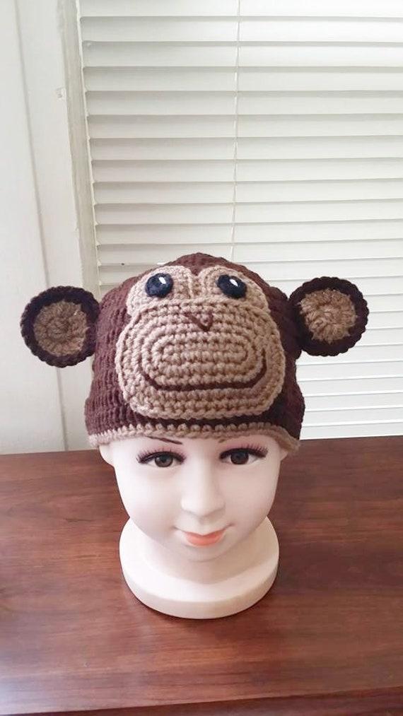 Häkeln Sie Affen Mütze Beanie gehäkelt Affe Affe Kostüm Hut | Etsy