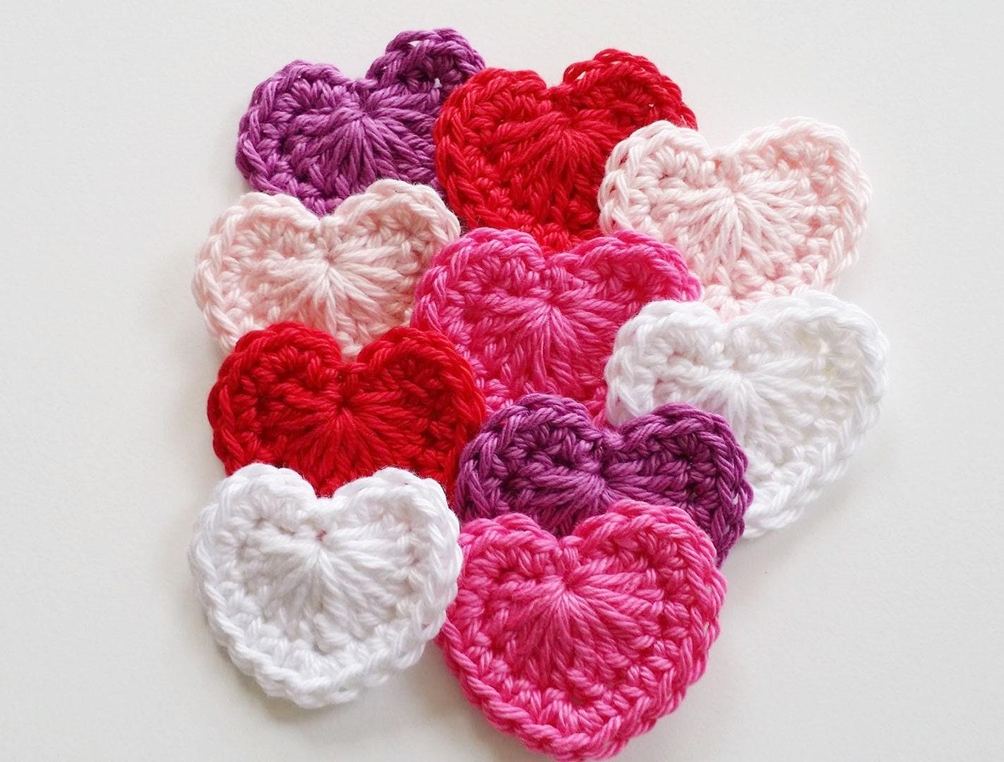 Crochet heart applique piecesvalentines appliqueheart etsy