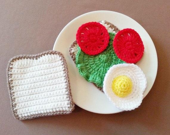 Crochet doudou, Egg Sandwich jouer ensemble, ensemble de nourriture au Crochet, Crochet tomate, laitue, Crochet pain, cadeau de Noël, cadeau d'anniversaire, faire semblant alimentaire