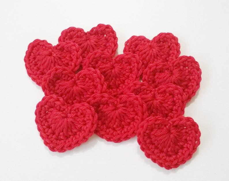 Crochet red heart applique pcsvalentines appliqueheart etsy