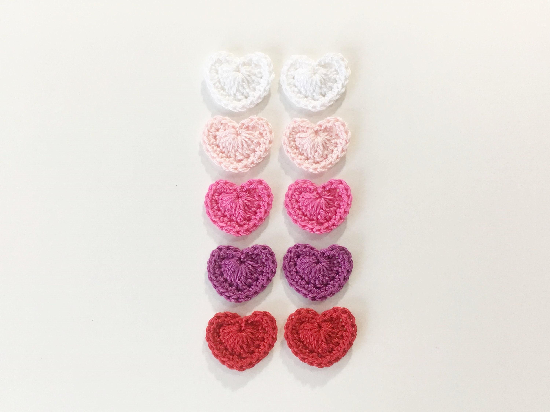 Crochet heart applique set pcsvalentines appliqueheart etsy