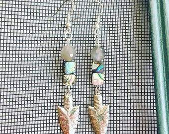 Moonstone and Abalone Arrowhead Earrings