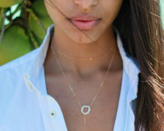 Lariat necklace, 14 kt gold fill necklace, pearl lariat necklace, goldfill pearl choker, gold choker necklace, gold statement necklace