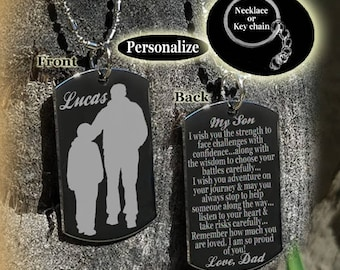 My Son To From Dad Gift For Necklace Key Chain Father Dog Tag Personalized