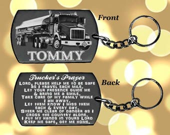 Tanker Truck Drivers Prayer, Truck Driver gift, Truck Driver, Trucking, Semi Truck Driver, Dog tag, Key chain or Necklace + Free Engraving
