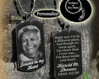 Personalized In Loving Memory, Forever in my Heart Dog tag Necklace or Key Chain with FREE ENGRAVING