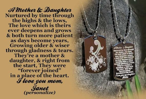 Mutter Tochter Gedicht Hund Tag Halskette Muttertagsgeschenk Gravierte Hundemarke Halskette Schlüsselanhänger