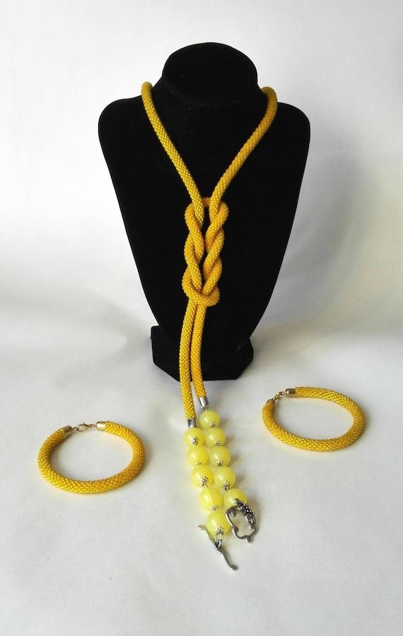 Lariat sand in the desert shiny Beaded necklace crochet jewelry gift women rope elegant jewelry long bead lariat bracelet doubles  yellow
