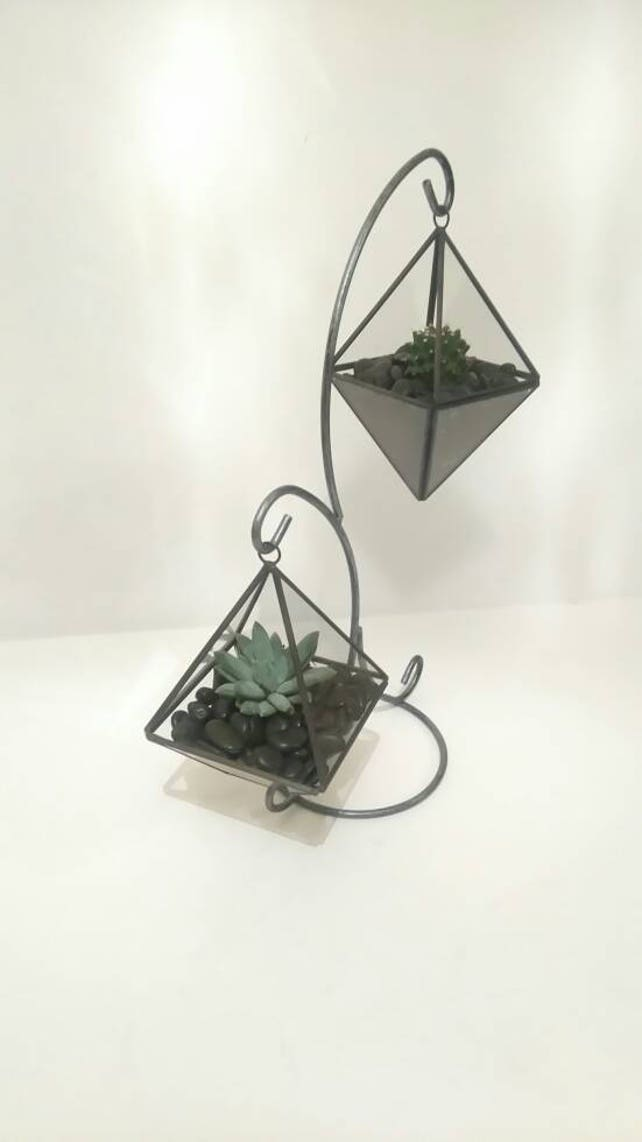 Hanging Geometric Glass Terrarium With Stand Full Kit Etsy