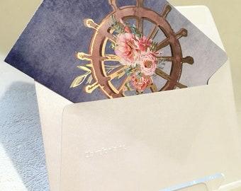 Marina - Set of 4 cards with enveloppe, Folded card, Foiled details, Shimmery enveloppe