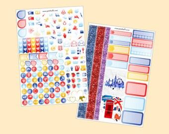 London Calling - Mini kit planner stickers, 2pages (for Erin Condren, Plum Paper, Kikki K, Paperchase, Filofax)