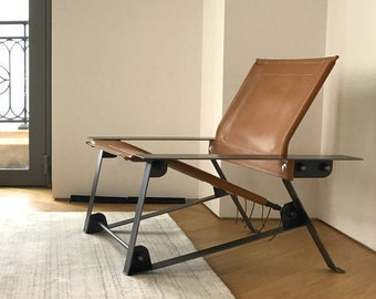 Leather Sling Chair, industrial