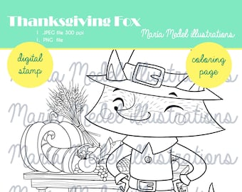 THANKSGIVING FOX.  coloring page+ digital stamp for scrapbooking, cardmaking...