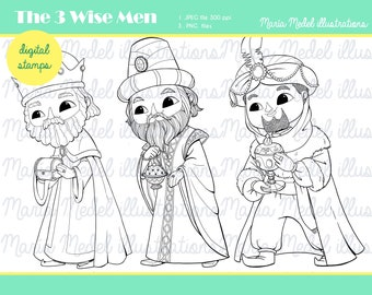 THE 3 WISE MEN.Christmas Digital Stamp.  Instant download. Personal use. Scrapbooking, Card making, Coloring page