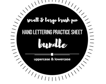 BUNDLE!* Small & Large Brush Pen Hand Lettering Practice Sheets - Hand Lettering Practice - Lettering Worksheet - Modern Calligraphy