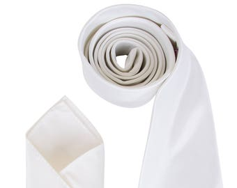 Mens Ivory Luxury Satin Neck Tie with matching Pocket Square