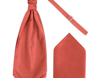 9fdd06bdce688 Mens Coral Orange Luxury Dupion Scrunchie Cravat with matching Pocket Square  Pre-Tied