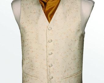 Mens Wedding Gold + Cream Woven Embroidery Waist Coat