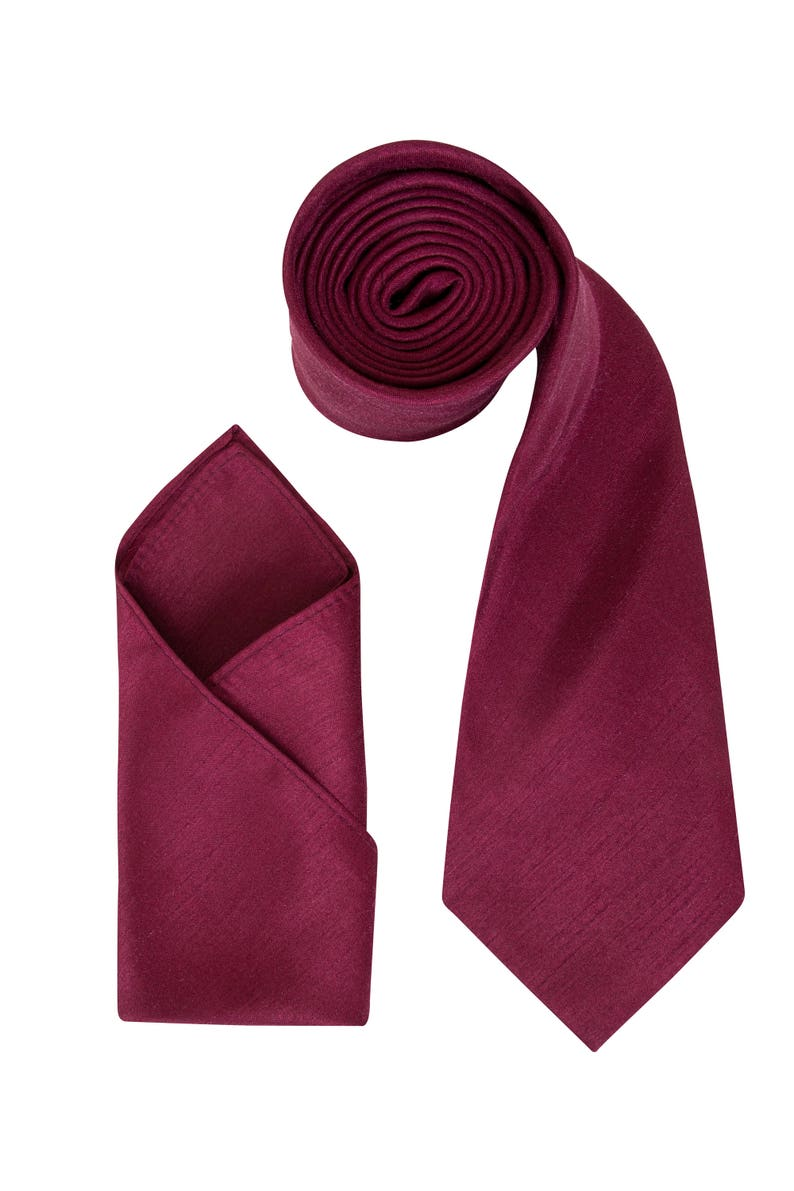 13f6b8313d915 Mens Maroon Luxury Dupion Neck Tie with matching Pocket Square | Etsy