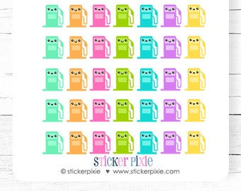 Kawaii Gas stickers Gas Pump Planner stickers Pastel Colors