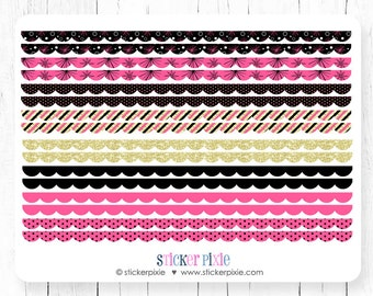 scallop border planner stickers scallop washi stickers new years gold pink black