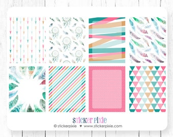 Vertical Horizontal Full Box Sticker Sheets, Feather Full Box Set for use with ERIN CONDREN LifePlanner
