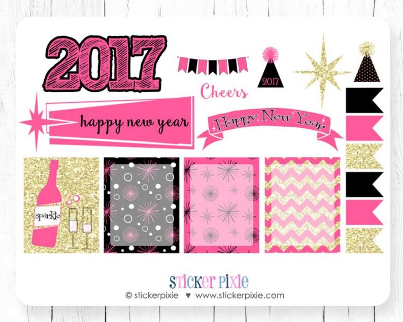 Nieuwjaar Planner Stickers Roze Zwart Goud Gelukkig Nieuwjaar Etsy