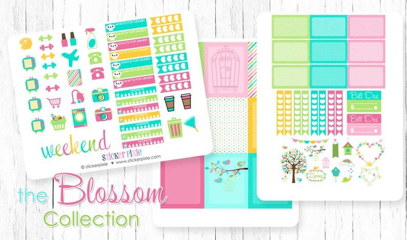 Planner Sticker Set Vertical Stickers Blossom Spring Theme Weekly Planner Set
