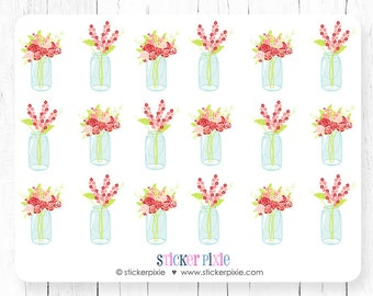Planner Stickers Mason Jar Flowers Valentine's Day February for use with Erin Condren Vertical Happy Planner Stickers