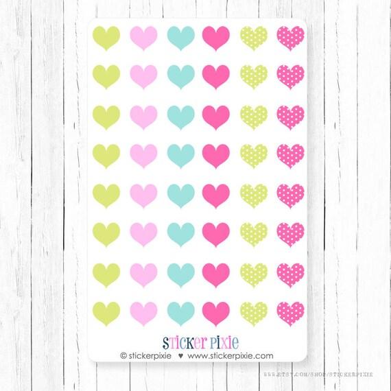 Pequeños corazones corazón Mini pegatinas de color rosa   Etsy