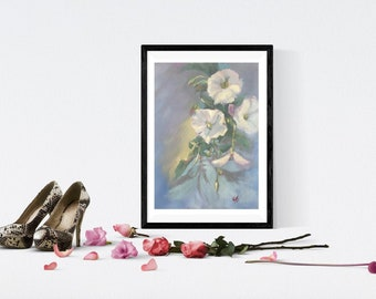 Original Botanical painting of Field White Bindweed vine flowers with interesting light and shadow play in impressionistic style by Komal
