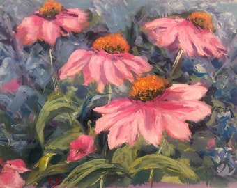 Painting of coneflowers Original Acrylic painting in impressionistic style by Komal Wadhwa