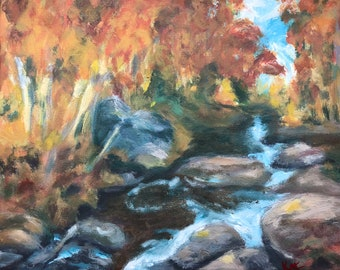 Autumn Trees Painting, Autumn leaves painting, Moody Autumn River creek Original Acrylic fall trees forest landscape Painting on 8x10 Canvas