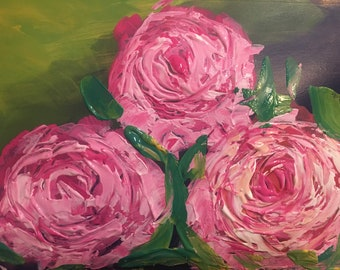 Abstract Roses Painting Acrylic with Palette knife on mixed media paper in impressionistic style by Komal Wadhwa
