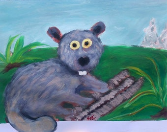 Beaver painting for kids room Original Acrylic painting on mixed media paper in impressionistic style by Komal Wadhwa