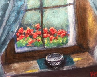 Floral window painting, red geranium art, Red Geranium at The Window Painting 5x7 inches, Floral Painting, Living Room Décor, art gift