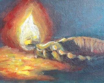 Original Acrylic painting of Indian lamp on canvas board in impressionistic approach by Komal Wadhwa Indian artist