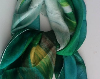 Silk head scarf, Head scarf Silk, Emerald Silk Scarf, Silk Green Scarf Women, Green Scarves for women, Silk Scarf Green