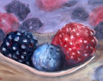 Original abstract Acrylic painting of spoonful of berries in impressionistic style by Komal Wadhwa