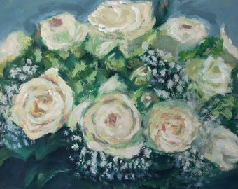 Wedding bouquet commission, Bridal Bouquet commission, Custom Art, Wedding Gift, Wedding Bouquet, Custom flowers, custom made painting