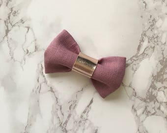 Felicity Bow in Mauve Linen