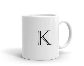 letter k block alphabet initial mug made in the usa