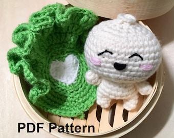 Crochet Pattern Bao Amigurumi, Crochet Pattern Bao Steamed Dumpling Amigurumi, Steamed Dumpling Amigurumi Tutorial, Dumpling Crochet Pattern