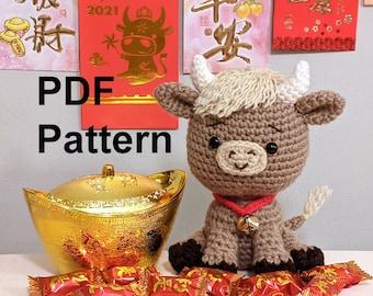 Crochet Pattern Year of Ox Amigurumi, Crochet Pattern Cow Amigurumi, Crochet Pattern Chinese New Year Ox, Crochet Pattern Lunar New Year Ox