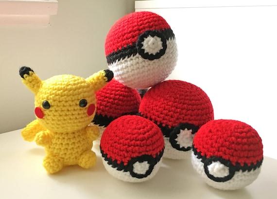 Pokeball Toy Crochet Pokeball Amigurumi Pokemon Ball Plush Etsy