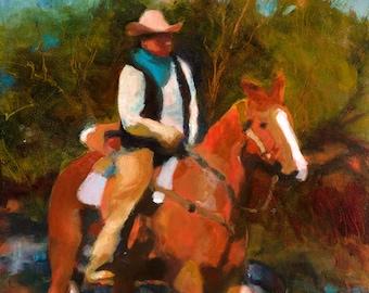 Cowboy Art, Horse Painting, Western Art, Cowboy Oil Painting
