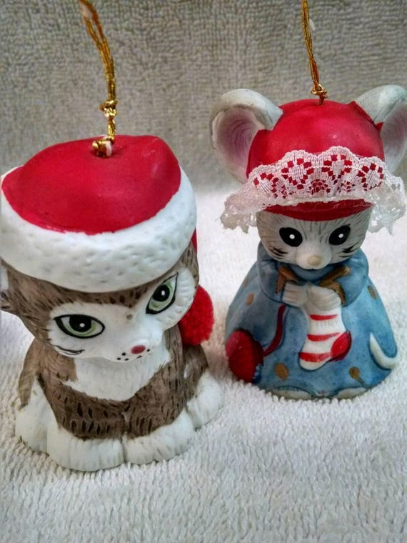 image 0 - Pair Of Jasco Bisque Bell Christmas Ornaments Etsy