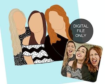 Custom portrait illustration, personalised drawing, digital portrait, cartoon portrait, vector illustration, digital print, best friend gift