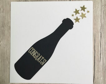 Handmade personalised congrats card // Personalized champagne congratulations card // Well done